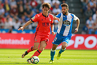Deportivo de la Coruna's Bruno Gama (r) and Real Sociedad's Alvaro Odriozola during La Liga match. September 10,2017.  *** Local Caption *** © pixathlon<br /> Contact: +49-40-22 63 02 60 , info@pixathlon.de