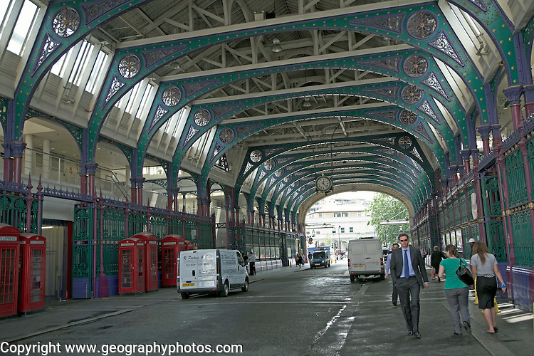 The traditional meat market and former cattle market at Smithfield, London, England buildings designed architect Sir Horace Jones completed 1868.