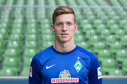 29.07.2013. Bremen, Germany.  The picture shows German Soccer Bundesliga club SV Werder Bremen's goalkeeper Richard Strebinger during the official photocall for the season 2013-14 in Bremen.