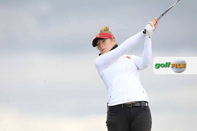 Amelia Garvey (NZL) on the 8th tee during Round 3 Matchplay of the Women's Amateur Championship at Royal County Down Golf Club in Newcastle Co. Down on Friday 14th June 2019.<br /> Picture:  Thos Caffrey / www.golffile.ie