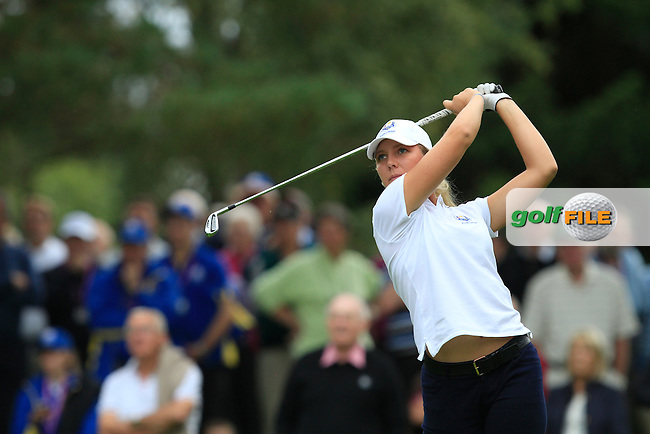 Linnea Strom (SWE) in the Mixed Fourballs during the 2014 JUNIOR RYDER CUP at the Blairgowrie Golf Club, Perthshire, Scotland. <br /> Picture:  Thos Caffrey / www.golffile.ie