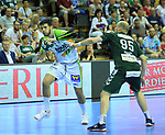 09.06.2019, Max Schmeling Halle, Berlin, GER, DHB,  1.HBL,  FUECHSE BERLIN VS. HSG Wetzlar,<br /> DHB regulations prohibit any use of photographs as image sequences and/or quasi-video<br /> im Bild Paul Drux (Fuechse Berlin #95), Stefan Cavor (HSG Wetzlar #77)<br /> <br />      <br /> Foto © nordphoto / Engler