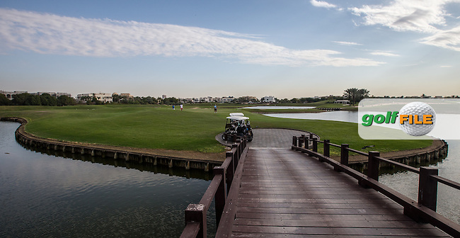Over the bridge to the 13th island at The Address Montgomerie Golf Club, Dubai, United Arab Emirates.  27/01/2016. Picture: Golffile | David Lloyd<br /> <br /> All photos usage must carry mandatory copyright credit (&copy; Golffile | David Lloyd)