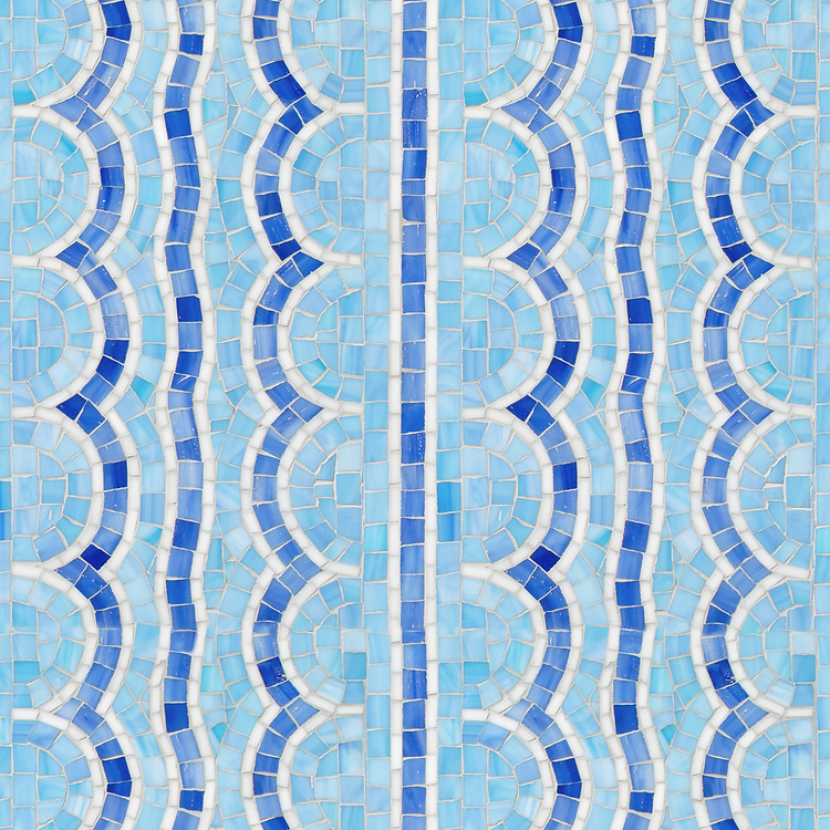 Tanzanian Squiggle, a hand-cut glass mosaic, shown in Blue Spinel and Iolite Sea Glass™ with Moonstone jewel glass. Designed by Joni Vanderslice as part of the J. Banks Collection for New Ravenna.