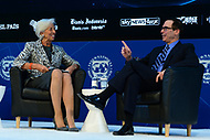 Washington, DC - April 22, 2017: International Monetary Fund Managing Director Christine Lagarde moderates a discussion on the U.S. economy, with U.S. Treasury Secretary Steven Mnuchin, during the annual Spring Meetings of the IMF/World Bank Group at the IMF headquarters in the District of Columbia April 22, 2017.  (Photo by Don Baxter/Media Images International)