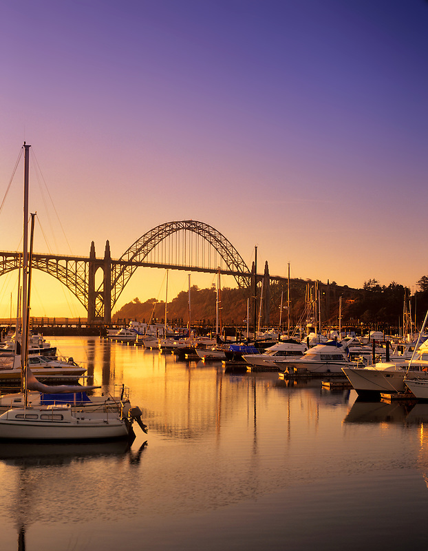 Yaquina Bay boat harbor and bridge. Newport, Oregon.