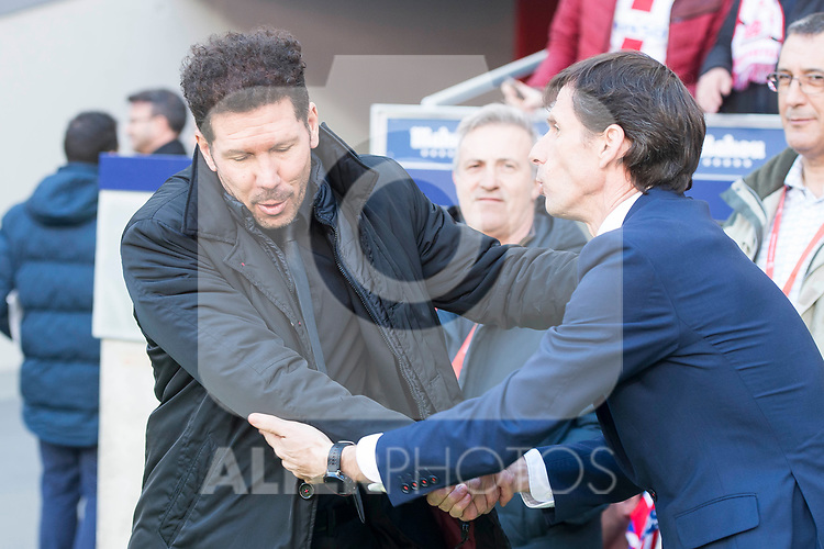 Atletico de Madrid coach Diego Pablo Simeone and Athletic Club coach Jose Angel Ziganda  during La Liga match between Atletico de Madrid and Athletic Club and Wanda Metropolitano in Madrid , Spain. February 18, 2018. (ALTERPHOTOS/Borja B.Hojas)