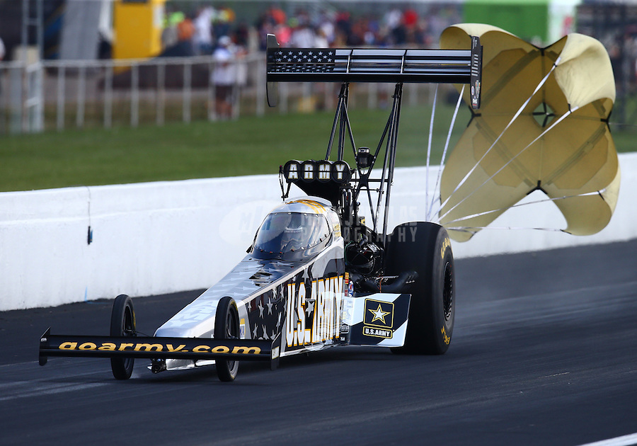 Sep 6, 2015; Clermont, IN, USA; NHRA top fuel driver Tony Schumacher during qualifying for the US Nationals at Lucas Oil Raceway. Mandatory Credit: Mark J. Rebilas-USA TODAY Sports