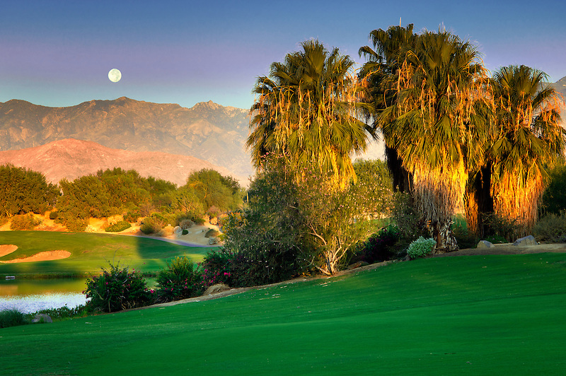 Monset over Desert Willow Golf Resort, Palm Desert, California