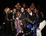 "Natasha Lyonne, James Harkness, Jeremy Pope, Danielle Brooks, Dascha Polanco, Jawan M. Jackson, Derrick Baskin, Ephraim Sykes and Adrienne C. Moore backstage after a performance of ""Ain't Too Proud"" at the Imperial Theatre on April 11, 2019 in New York City."