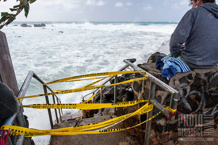 Waves crash over public beach access stairs during the giant swell of January 22, 2014, Keiki Beach, North Shore, O'ahu.