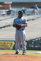 Peoria Javelinas starting pitcher Miguel Diaz (36), of the San Diego Padres organization, gets ready to deliver a pitch during an Arizona Fall League game against the Surprise Saguaros at Surprise Stadium on October 17, 2018 in Surprise, Arizona. (Zachary Lucy/Four Seam Images)