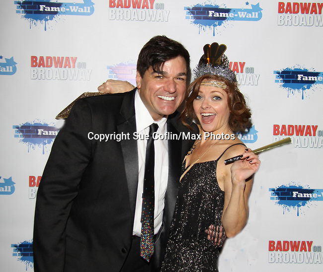 """Dale Badway (2013 Tony Award host of the event and Anne Sayre (As The World Turns) attend The Times Square Broadway Royale on New Years Eve 2014 at the legendary Copacabana, New York City, New York. NOTE: Dale Badway and Anne Sayre both attended Governor Mifflin High School, Shillington, PA as a senior and a freshman. They starred together in Bye Bye Birdie - she as Kim McAfee"""" and Dale as """"Corad Birdie"""". It was her first official kiss as  (Photo by Sue Coflin/Max Photos)"""