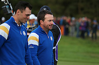 Graeme McDowell (EUR) and Martin Kaymer (EUR) during Sunday's Singles at the 2014 Ryder Cup from Gleneagles, Perthshire, Scotland. Picture:  David Lloyd / www.golffile.ie