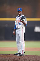 St. Lucie Mets starting pitcher Justin Dunn (19) looks in for the sign during a game against the Dunedin Blue Jays on April 20, 2017 at Florida Auto Exchange Stadium in Dunedin, Florida.  Dunedin defeated St. Lucie 6-4.  (Mike Janes/Four Seam Images)