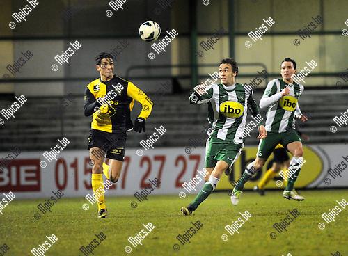 2013-03-09 / Voetbal / seizoen 2012-2013 / Racing Mechelen - Olsa Brakel / Ouissem Zarti met Sven Vandeput (r. RCM)..Foto: Mpics.be