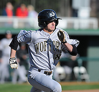 Center fielder Matthew Kaskow (18) of the Wofford Terriers in a game against the Clemson Tigers on Wednesday, March 6, 2013, at Doug Kingsmore Stadium in Clemson, South Carolina. Clemson won, 9-2. (Tom Priddy/Four Seam Images)
