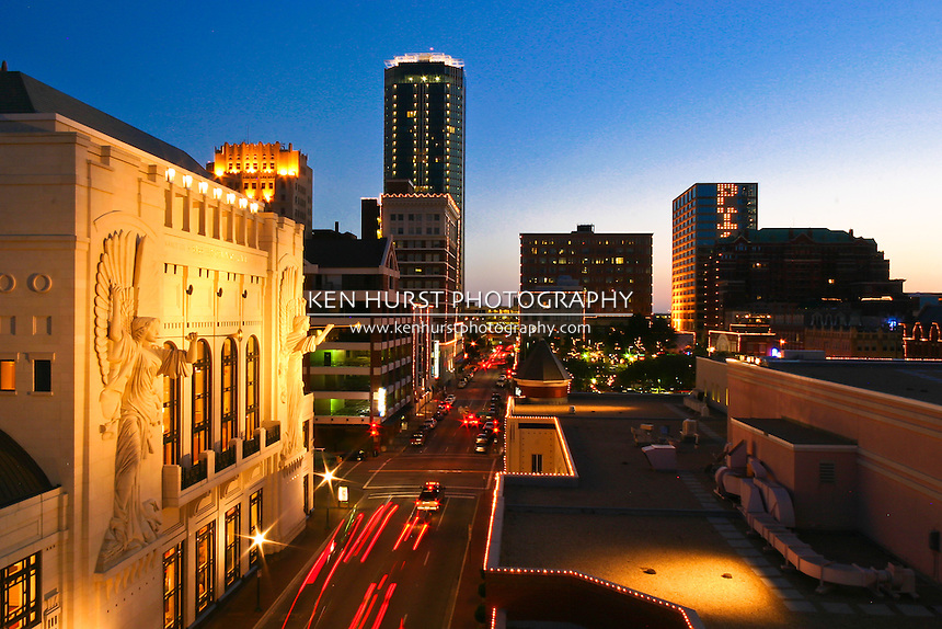 Evening view of Bass Hall and downtown Fort Worth, Texas along 4th street.