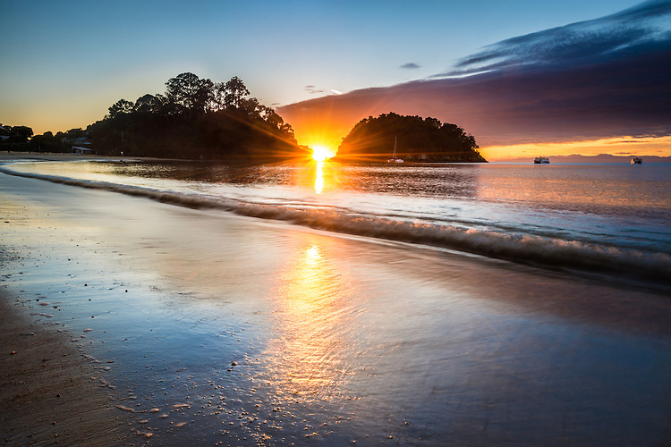 Sunrise, Kaiteriteri Beach, South Island, New Zealand - stock photo, canvas, fine art print