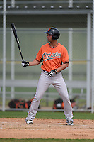 Shortstop Connor Narron (17) of the Baltimore Orioles organization during a minor league spring training camp day game on March 23, 2014 at Buck O'Neil Complex in Sarasota, Florida.  (Mike Janes/Four Seam Images)