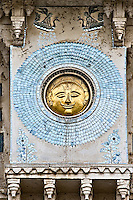 Circular salver showing sun-face in gleaming brass, engraved on the wall of City Palace in Udaipur India.<br /> (Photo by Matt Considine - Images of Asia Collection)