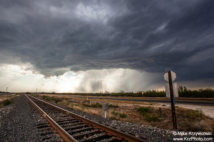 Severe Thunderstorm Above Railroad Track near Del Rio, TX, May 10, 2013