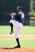 GCL Yankees 1 pitcher Simon De la Rosa (61) delivers a pitch during the first game of a doubleheader against the GCL Braves on July 1, 2014 at the Yankees Minor League Complex in Tampa, Florida.  GCL Yankees 1 defeated the GCL Braves 7-1.  (Mike Janes/Four Seam Images)