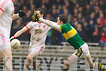 David Moran, Kerry in action against Christopher Cross Tyrone in the fourth round of the National Football league at Fitzgerald Stadium, Killarney on Sunday.