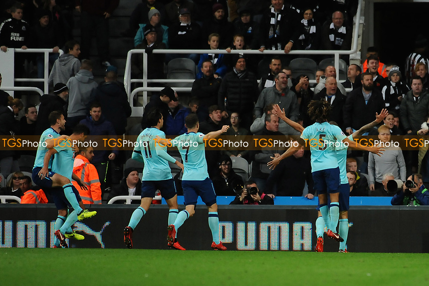 Steve Cook of Bournemouth celebrates scoring the opening goal of the game during Newcastle United vs AFC Bournemouth, Premier League Football at St. James' Park on 4th November 2017