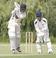 John Whealing bats for Shepherds Bush during the Middlesex County Cricket League Division Two game between Harrow St Mary's and Shepherds Bush at<br /> Harrow on Sat July 19, 2014