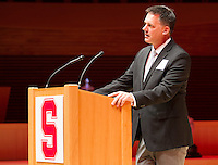 STANFORD, CA.,--OCTOBER 11, 2014---The  introduction of A.J.Hinch,  at  the Stanford Athletics Hall of Fame  Induction Ceremony at the Stanford Bing Concert Hall on the Stanford University Campus.