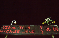 Scoreboard pre match during the Sky Bet League 2 match between Yeovil Town and Wycombe Wanderers at Huish Park, Yeovil, England on 24 November 2015. Photo by Andy Rowland.