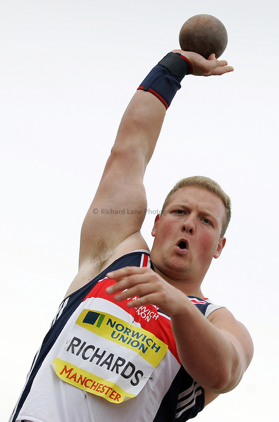 Photo: Paul Thomas/Richard Lane Photography..Norwich Union World Trials and AAA Championships. 28/07/2007...Leslie Richards during the men's shot put.