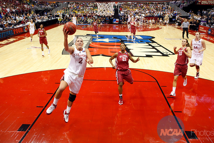 04 APR 2010:  Jayne Appel (2) of Stanford University leads the fast break against the University of Oklahoma during the Division I Women's Basketball Semifinals held at the Alamodome during the 2010 Women's Final Four in San Antonio, TX.  Stanford defeated Oklahoma 73-66 to advance to the finals.  Jamie Schwaberow/NCAA Photos