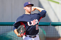 Jeff Beliveau #23 of the United States World Cup/Pan Am Team warms up in the bullpen during the exhibition game against Team Canada at the USA Baseball National Training Center on September 28, 2011 in Cary, North Carolina.  (Brian Westerholt / Four Seam Images)