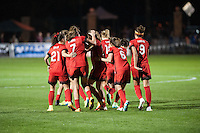 Kansas City, Mo. - Saturday April 23, 2016: Portland Thorns FC Lindsey Horan (7) celebrates scoring with teammates against FC Kansas City at Swope Soccer Village. The match ended in a 1-1 draw.