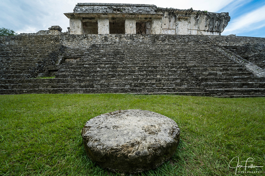 An altar in front of the Palace in the ruins of the Mayan city of Palenque,  Palenque National Park, Chiapas, Mexico.  A UNESCO World Heritage Site.