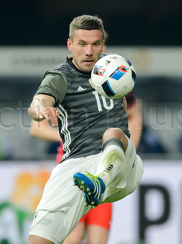26.03.2016. Olympiastadion Berlin, Berlin, Germany.  Germany's Lukas Podolski in action during the international friendly soccer match between Germany and England at the Olympiastadion