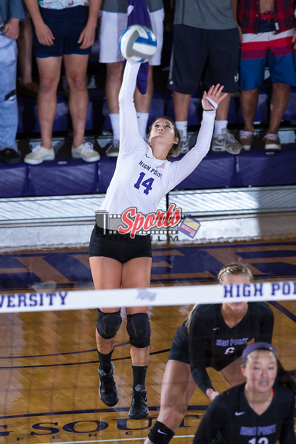 Annemarie Chin (14) of the High Point Panthers serves against the Marshall Thundering Herd at the Panther Invitational at the Millis Athletic Center on September 12, 2015 in High Point, North Carolina.  The Thundering Herd defeated the Panthers 3-2.   (Brian Westerholt/Sports On Film)