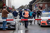 the race leaders are stopped by police at a closed railroad crossing<br /> <br /> 75th Omloop Het Nieuwsblad 2020 (1.UWT)<br /> Gent to Ninove (BEL): 200km<br /> <br /> ©kramon