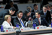"Michelle Bachelet, Chile's president, from left, Xi Jinping, China's president, and Enrique Pena Nieto, Mexico's president, attend an opening plenary entitled ""National Actions to Enhance Nuclear Security"" at the Nuclear Security Summit in Washington, D.C., U.S., on Friday, April 1, 2016. After a spate of terrorist attacks from Europe to Africa, U.S. President Barck Obama is rallying international support during the summit for an effort to keep Islamic State and similar groups from obtaining nuclear material and other weapons of mass destruction. <br /> Credit: Andrew Harrer / Pool via CNP"