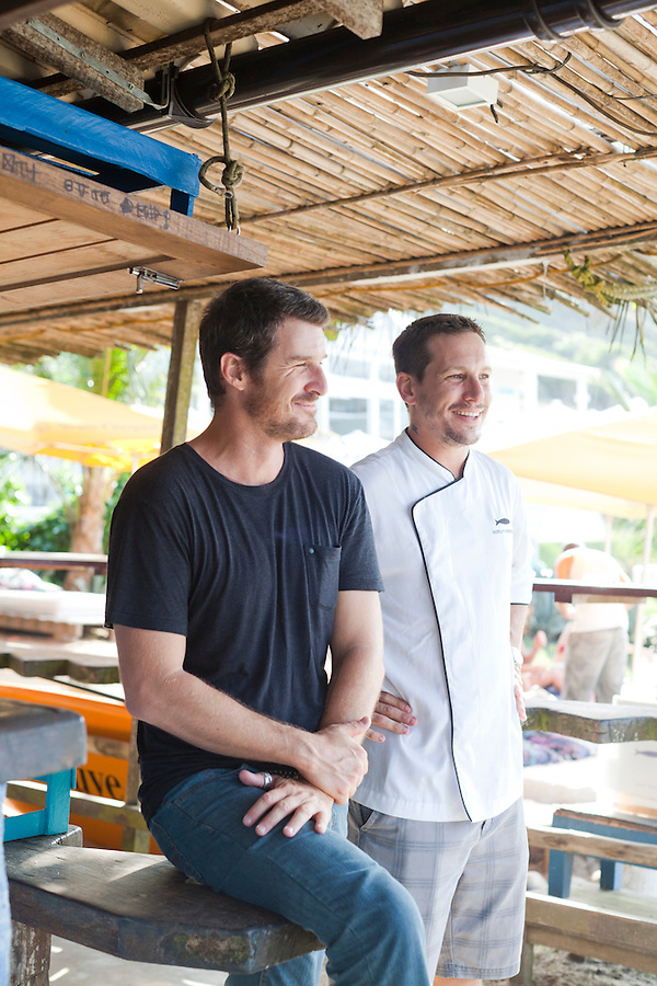 Owners, Santiago Bebianno, left, and Gustavo Rinkevich, right, at their restaurant, Rocka Beach Lounge and Restaurant, at Brava Beach.