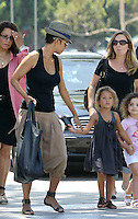 Family outing! Halle Berry took adorable Nahla and her fiance_Olivier_Martinez to see the Mary Poppins musical at the Music Center in Downtown Los Angeles. The three were accompanied by a security guard and a few friends. Have you noticed Halle's MC Hammer style harem pants? Los Angeles, California on 11.08.2012..Credit: Correa/face to face.. / Mediapunchinc ***online only for weekly magazines**** /NortePHOTO.com