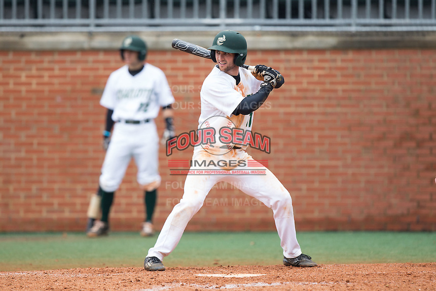 Derek Gallello (41) of the Charlotte 49ers at bat against the Akron Zips at Hayes Stadium on February 22, 2015 in Charlotte, North Carolina.  The Zips defeated the 49ers 5-4.  (Brian Westerholt/Four Seam Images)