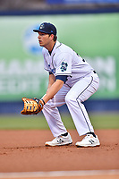 Asheville Tourists first baseman Grant Lavigne (34) during a game against the Augusta GreenJackets at McCormick Field on April 5, 2019 in Asheville, North Carolina. The  Tourists defeated the GreenJackets 5-0. (Tony Farlow/Four Seam Images)