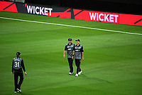 Trent Boult celebrates catching Dawid Malan during the International Twenty20 cricket match between the NZ Black Caps and England at Westpac Stadium in Wellington, New Zealand on Tuesday, 13 February 2018. Photo: Dave Lintott / lintottphoto.co.nz