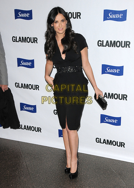 DEMI MOORE.The Glamour Reel Moments held at The DGA in West Hollywood, California, USA. .October 14th, 2008                                                                     .full length black dress clutch bag belt .CAP/DVS.©Debbie VanStory/Capital Pictures.