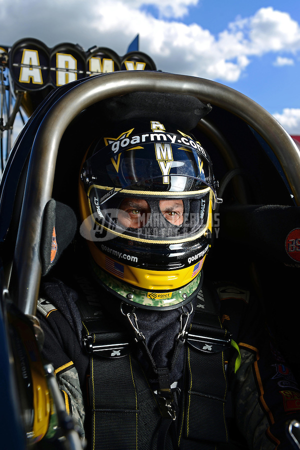 Sept 8, 2012; Clermont, IN, USA: NHRA top fuel dragster driver Tony Schumacher during qualifying for the US Nationals at Lucas Oil Raceway. Mandatory Credit: Mark J. Rebilas-