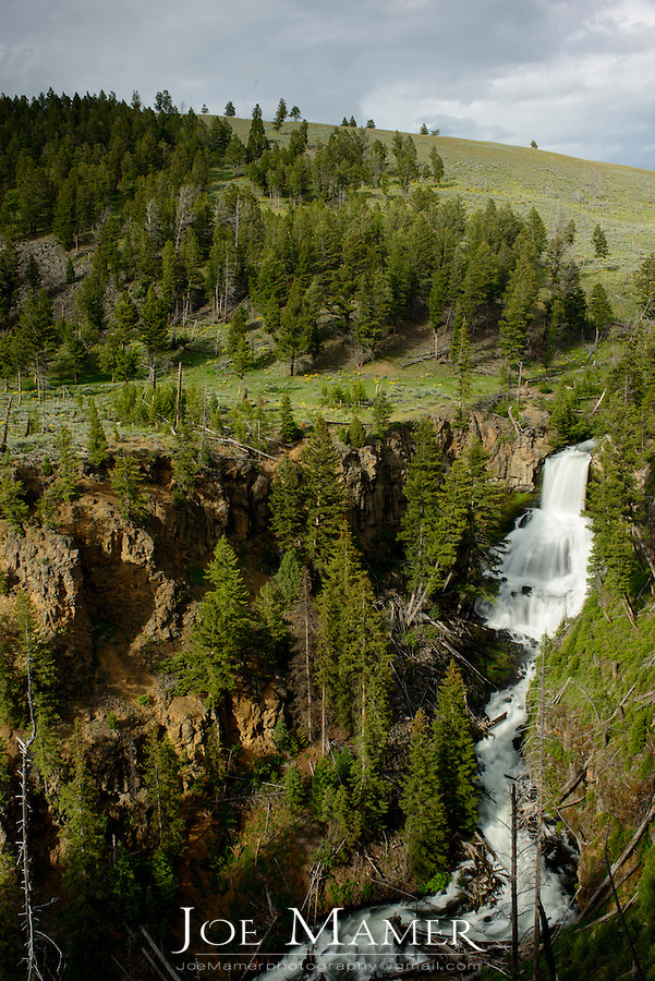 Undine Falls on Lava Creek in Yellowstone National Park during summer.