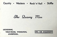 BNPS.co.uk (01202 558833)<br /> Pic: OmegaAuctions/BNPS<br /> <br /> 1957 - Country, Western, Rock'n'Roll and Skiffle.<br /> <br /> From Me To You - Fascinating business cards chart the earliest days of the Fab Four.<br /> <br /> Meet The Beatles - Three business cards that chart the evolution of the Beatles from fledgling teenagers have emerged for sale for £6,000.<br /> <br /> The first card dates to 1957 when John Lennon, Paul McCartney and George Harrison were in a band called The Quarry Men along with Lennon's best mate Pete Shotton.<br /> <br /> They started off as a Country, Western, Rock 'n' Roll and Skiffle act and had the cards professionally made while they looked for gigs in their native Liverpool.<br /> <br /> By the time The Quarry Men had their second set of business cards printed in 1958 they had dropped the Country  Western element to their act.<br /> <br /> And a third card printed in 1960 shows how the band had changed their name The Beatles and had a new manager, Alun Williams.